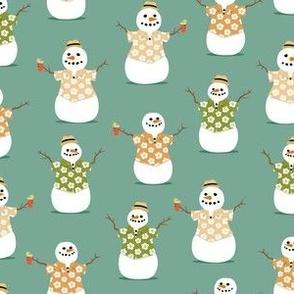 Summer Snowman - green - tropical Christmas - LAD21