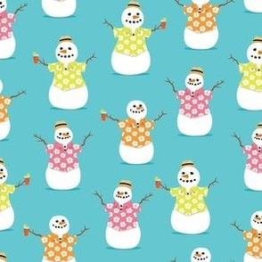 Summer Snowman - teal - tropical Christmas - LAD21