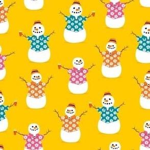 Summer Snowman - yellow - tropical Christmas - LAD21