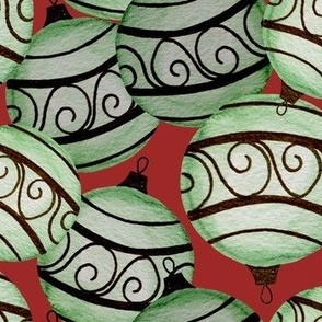 green christmas ornaments  red field