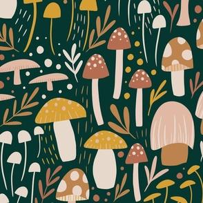 Woodland Mushroom Meadow - green - jumbo