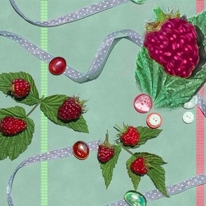 Large Size Raspberries and Ribbons on Seafoam Green