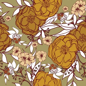 Floral Seamless Pattern in Earthtone Colors