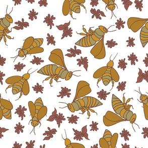 Buzzing Bee Earth-tone Pattern