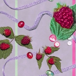 Large Size Raspberries and Ribbons on Lavender Background
