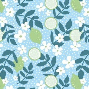 Summer harvest lime daisies and branches blossom garen fresh spring summer print in blue  slate and lime green mint