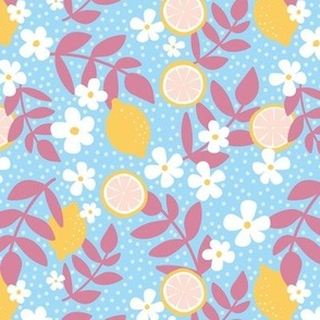 Summer harvest lemons daisies and branches blossom garen fresh spring summer print in blue yellow and rose pink