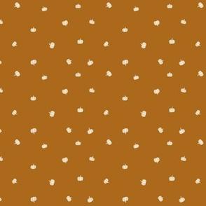 small // mini cream Pumpkins on burnt orange quilting Fabric