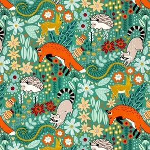 Textured Woodland Pattern - Sea Green - Small Scale