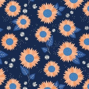 Indian summer sunflowers leaves and daisies orange classic blue on navy