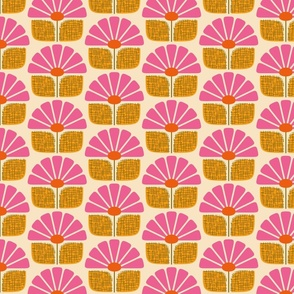 Sun Daisies - Pink and Golden Yellow