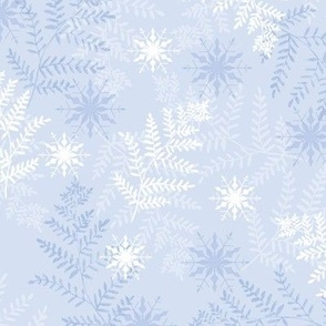 Icy Blue & White Ferns with Snowflakes 2021