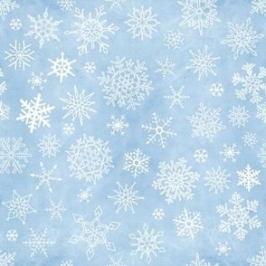 Exquisite Falling White Snowflakes on Blue Sky Painted Background 2021