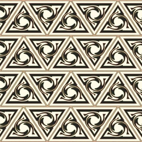 Neutral Geometric  triangles black and gold and