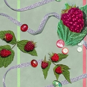 Large Size Raspberries and Ribbons on Willowy Sage Background