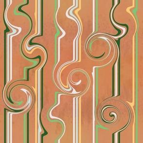 Neutral Geometric swirls green and rust