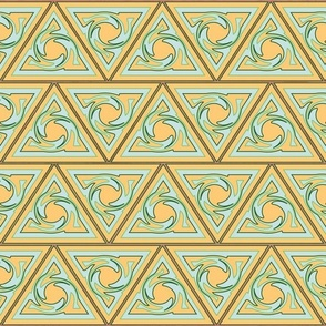Neutral Geometric triangles mango and blue