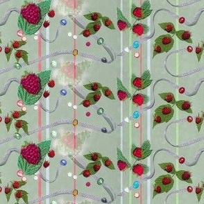 Tiny Size Raspberries and Ribbons on Willowy Sage Background