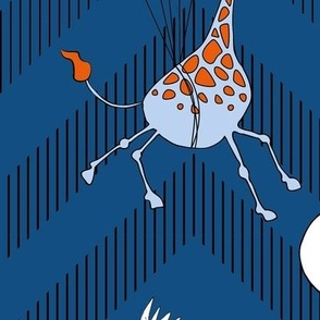 flying safari chevron - blue large scale: giraffes, pelicans, balloons and planes