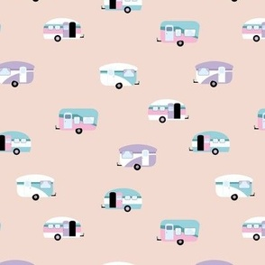Retro camping trip with vintage seventies style caravans and campers summer holiday travel theme kids nursery pastel apricot blush pink lilac blue girls