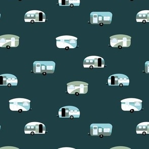 Retro camping trip with vintage seventies style caravans and campers summer holiday travel theme kids nursery moody emerald green blue sage boys