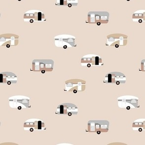 Retro camping trip with vintage seventies style caravans and campers summer holiday travel theme kids nursery soft pastel beige sand neutral earthy tones