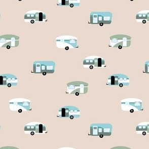 Retro camping trip with vintage seventies style caravans and campers summer holiday travel theme kids nursery soft pastel beige sand neutral blue green sage