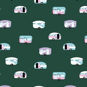 Retro camping trip with vintage seventies style caravans and campers summer holiday travel theme kids nursery moody green pink lilac blue winter girls