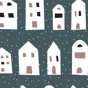 houses in the snow, navy