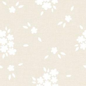 Daisies Floral Cream Linen White_Iveta Abolina