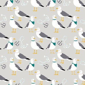 Large Seagulls & Anchors on Harbor Grey
