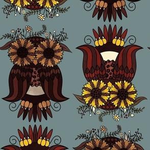 Autumn Sunflower Owl on Blue