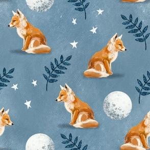 Night Fox - Medium on Blue
