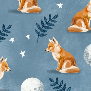 Night Fox - Large on Blue