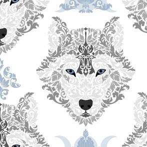 Gray Wolf Damask on White - Large