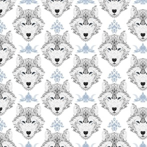 Gray Wolf Damask on White