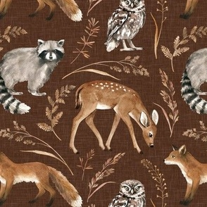 Large Scale / Woodland Fable / Chocolate Textured Background