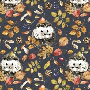 Small Scale / Autumn Hedgehog / Stone Grey Textured Background