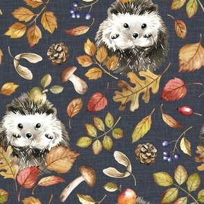 Large Scale / Autumn Hedgehog / Stone Grey Textured Background