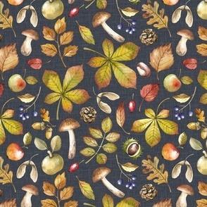 Small Scale / Autumn Foliage / Stone Grey Textured Background