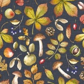 Large Scale / Autumn Foliage / Stone Grey Textured Background