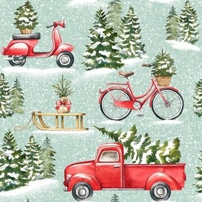 Large Scale / Christmas Traffic / Mint Textured Background