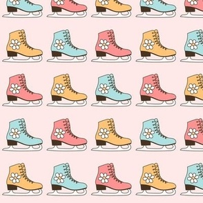 Vintage Ice Skates in Pastel Mint, Blush Pink and Mustard Color, Retro Ice Skating Shoes Pattern