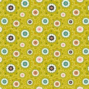 Flower Garden - Retro Girl Lime Green Outline Small Scale