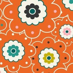 Flower Garden - Retro Girl Orange Outline Large Scale