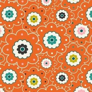 Flower Garden - Retro Girl Orange Outline Regular Scale