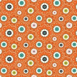 Flower Garden - Retro Girl Orange Outline Small Scale