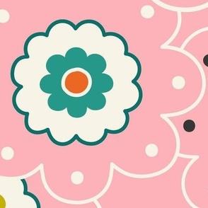 Flower Garden - Retro Girl Pink Outline Jumbo Scale