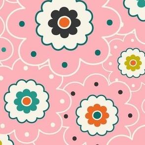 Flower Garden - Retro Girl Pink Outline Large Scale