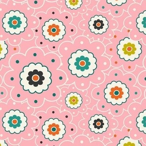 Flower Garden - Retro Girl Pink Outline Regular Scale